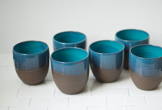 **Ready-to-Ship** These turquoise tumblers are made on the pottery wheel with a deep brown stoneware clay. They are food and liquid safe, can