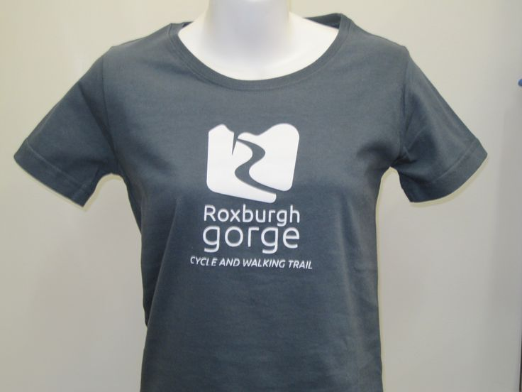 Roxburgh Gorge T-shirt in Slate.  Reflecting the rocky escarpments that you will pass in the Roxburgh Gorge.  Available at Central Otago Visitor Centres and online. http://www.centralotagonz.com/online-shop