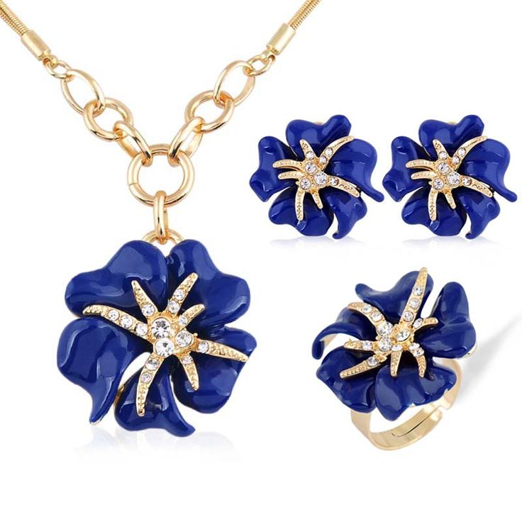 European and American fashion 3p Golden Big Rose Rhinestone Jewelry Sets Enamel Fine jewellery Set for women charm Accessories