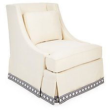Cheryl Skirted Chair, Cream/Blue Trellis