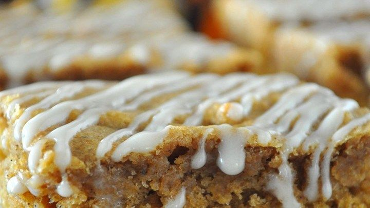 Apple Butter Bars. These bar cookies are made moist by using apple butter and feature a simple drizzled icing.