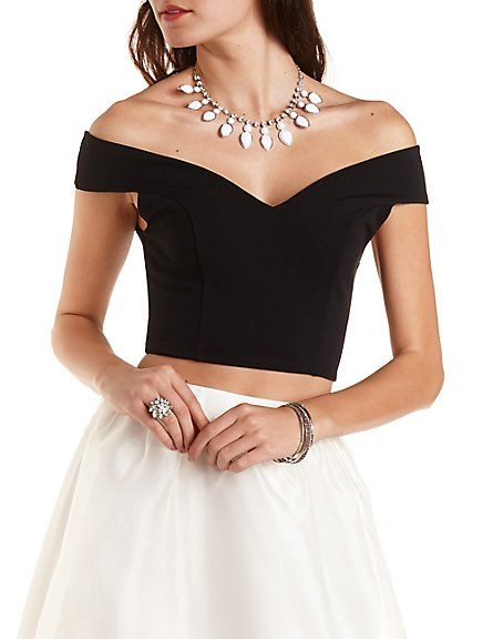 Off-the-Shoulder Crop Top by Charlotte Russe - Black from Charlotte Russe