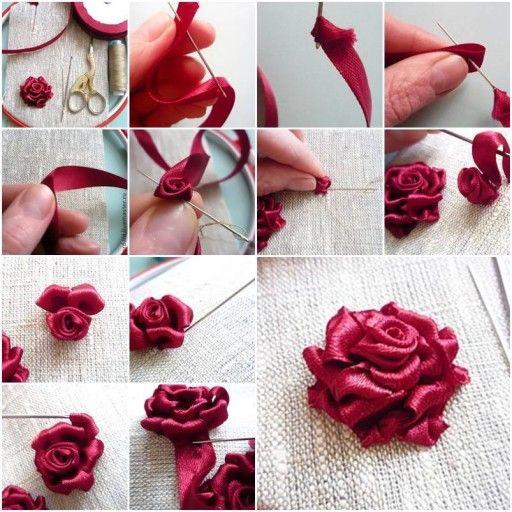 Роза из лент своими руками с пошаговым фото
