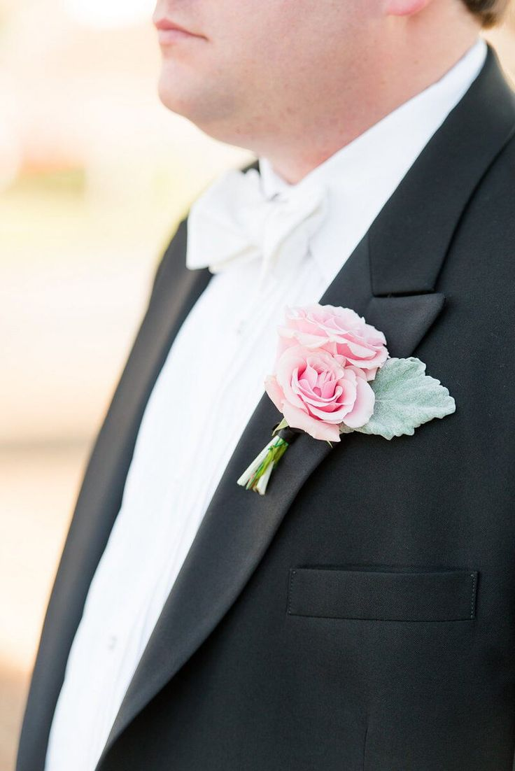 Elegant Country Club Wedding - Pink Boutonniere