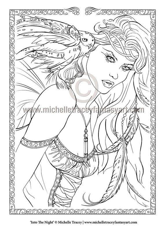 Coloring page contemplation spirit fantasy coloring book