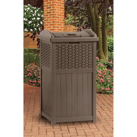 Suncast Resin Wicker Trash Hideaway