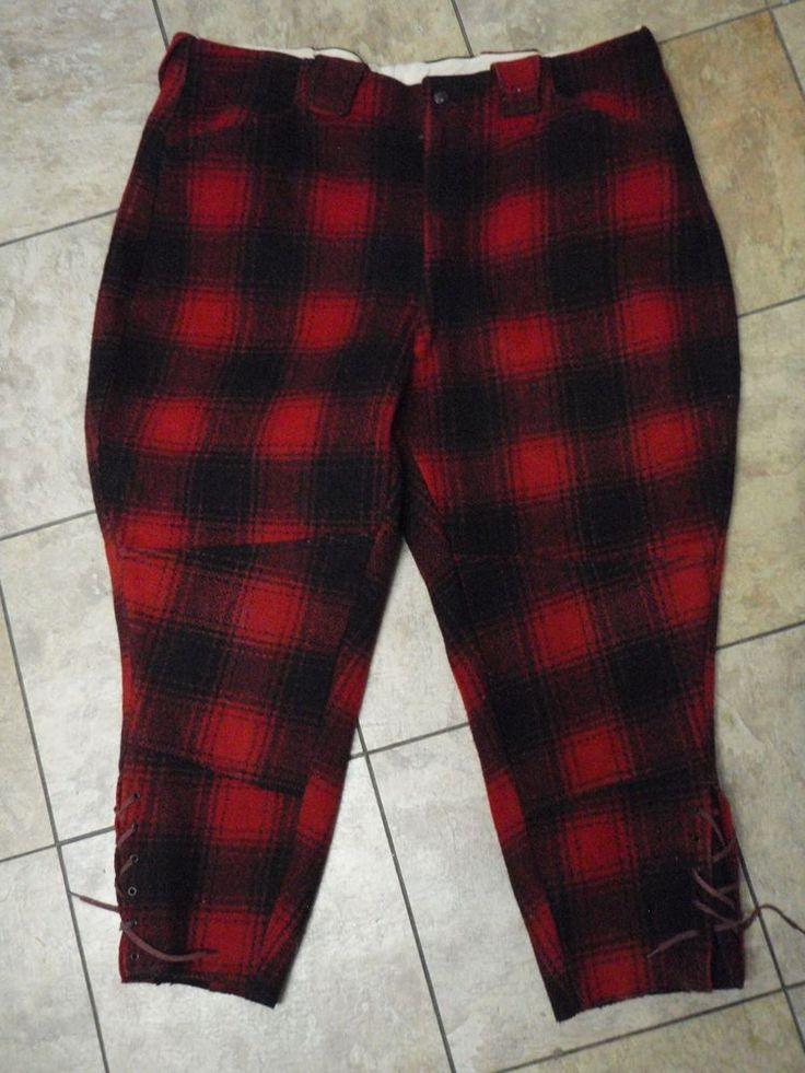 """Vintage Woolrich Wool Hunting Pants Short Red Black Plaid 42"""" Waist, 25"""" Inseam  #Woolrich"""