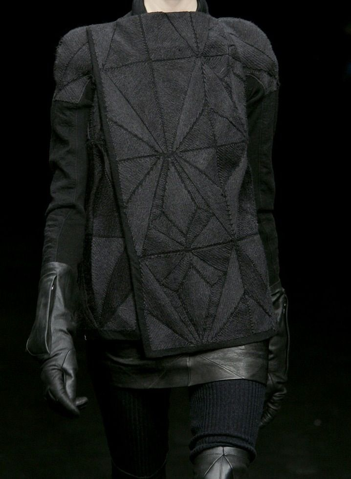 Geometric Fashion - black on black, structured look with leather, mixed fabrics  stitched geometric patterns; fashion details