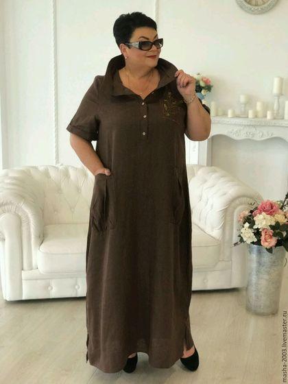 Купить или заказать Платье льняное в интернет-магазине на Ярмарке Мастеров. Платье льняное с элементами вышивки. Состав ткани: вываренный лен. Размеры 54-66. Авторская работа.