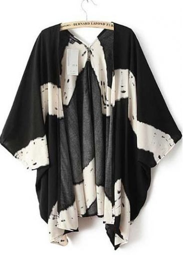 All Matched Batwing Sleeve Color Block Cardigans for Lady