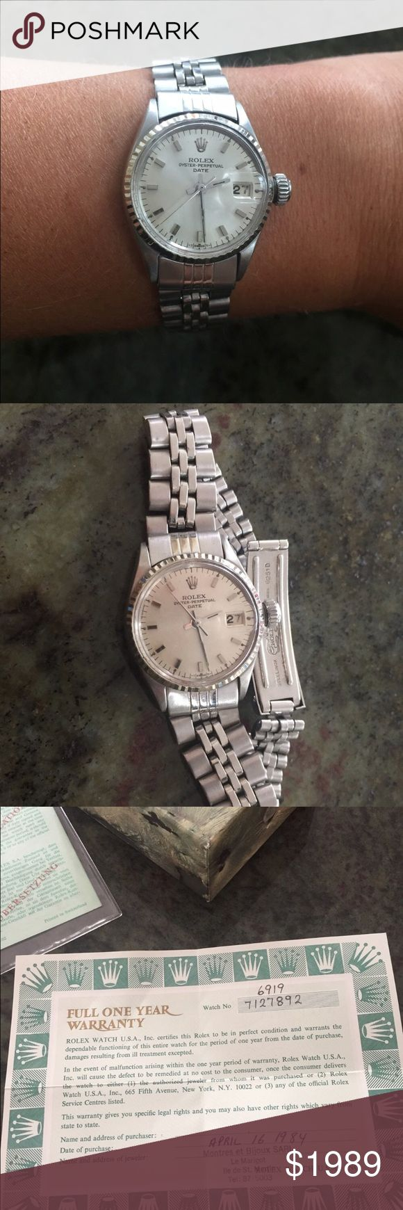 Vintage Rolex Oyster Perpetual Date Ladies Watch Vintage Rolex Oyster Perpetual Date Ladies Watch. With original box and papers. 1984. Vintage Condition Stainless Steel 100% Authentic Rolex Accessories Watches