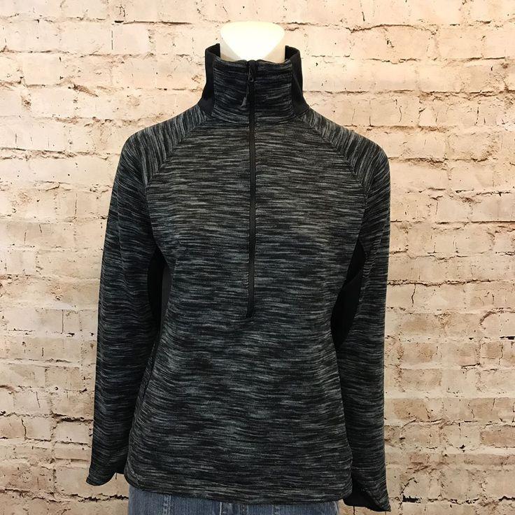 Columbia Womens Medium Pullover Black Blue Space Dye 1/4 Zip Lightweight  | eBay