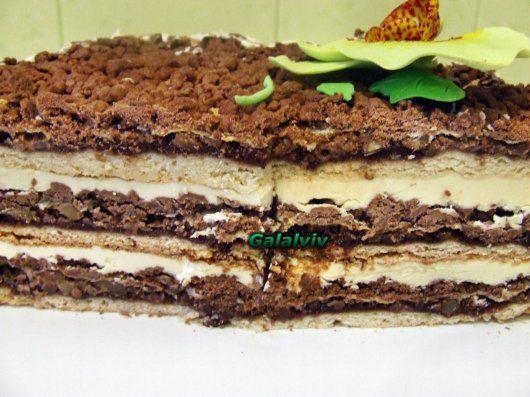 Вишиванка700 гр.муки400 гр. маргарину4 жовтки1 ст. цукру1/2 ст.л. порошку до печива1/2 ст. сметаниЗамісити тісто,розділити його на 2 частини,до однієї додати какао.Потім і біле,і чорне тісто поділити на 3 частини,чорне поставити на холод.З білого робити палянички,змазати їх повидлом,зверху посипати січеними горіхами,потім покрити піною з білків і зверху пот%D