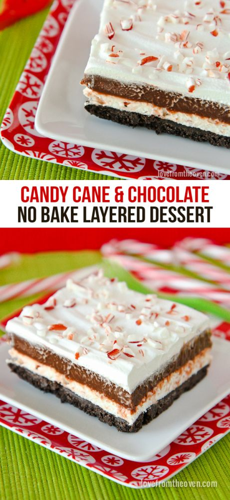 No Bake Chocolate Candy Cane Peppermint Dessert.  This is one seriously easy and delicious desserts for Christmas!