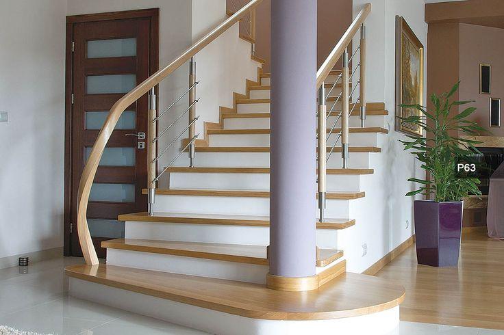 P70 Schody wspornikowe | Konstrukcja: wspornikowa | Drewno: jesion bielony | Balustrada: stal kwasoodporna