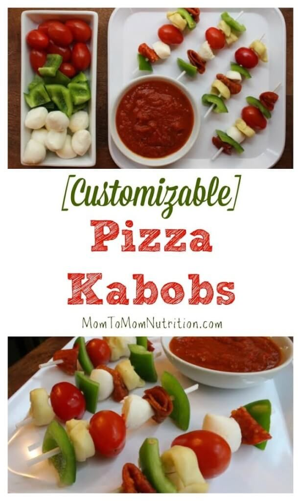 Pizza Kabobs make the perfect kid-friendly, customizable meal! Just take your favorite pizza toppings, skewer, and voila! You have a no-bake pizza option! @MomNutrition