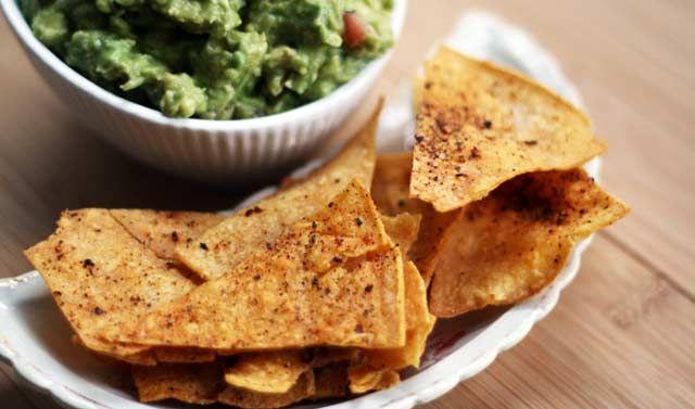 Homemade corn tortilla chips - Made from extra tortilla shells, oven ...