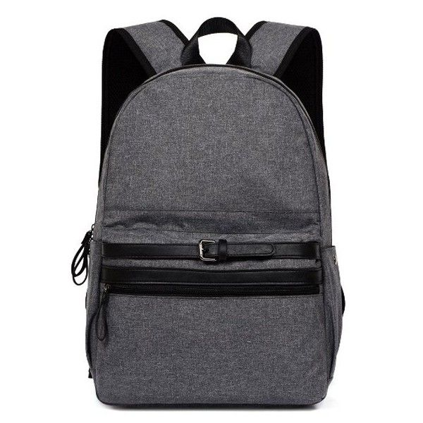 Concise Buckle Strap Canvas Backpack (490 DOP) ❤ liked on Polyvore  featuring bags, adde412fb3