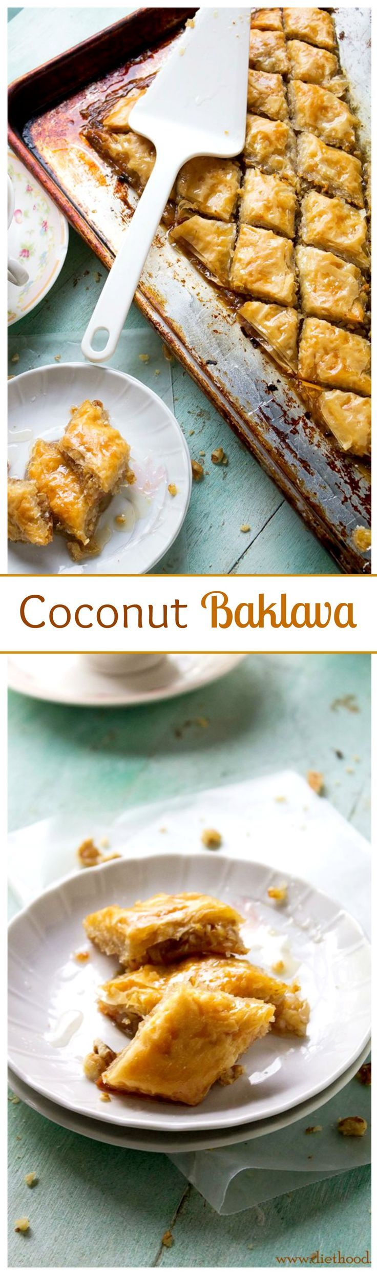 Layers of Phyllo sheets filled with a delicious mixture of shredded coconut and walnuts.