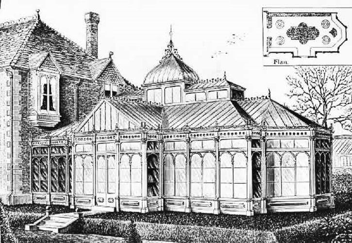 Vintage Architectural Drawing Of Conservatory Greenhouse