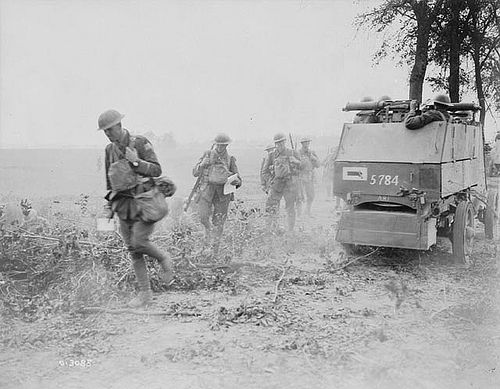 August 9, 1918: Canadian armoured cars going into action at the Battle of Amiens