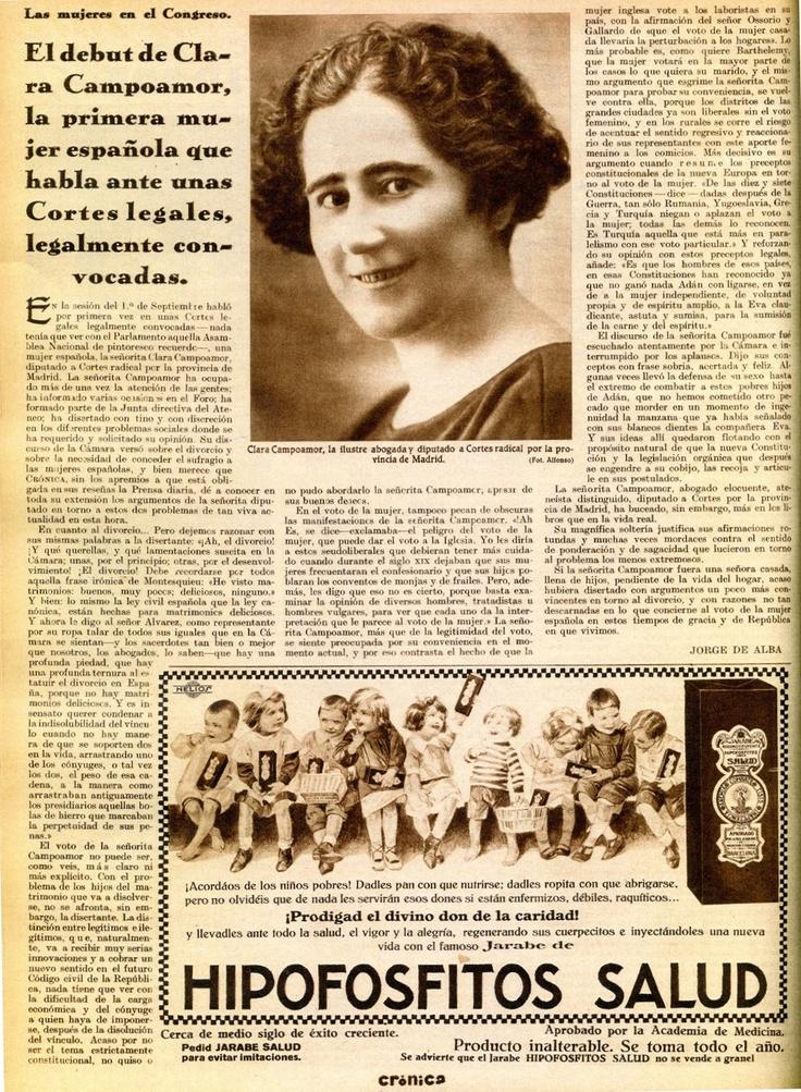 Clara Campoamor defendió el sufragio femenino frente a su propio partido en un célebre debate en las Cortes, celebrado el 1 de octubre de 1931