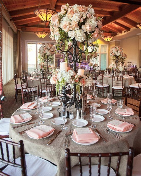 Custom Made 120 inches Round Burlap Tablecloth by sashesforlove