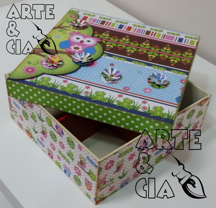 Caixa com técnicas de scrapbook: coruja   Arte & Cia - Arte & Cia: Cursos de artesanato, presentes, scrapbook, pintura em madeira
