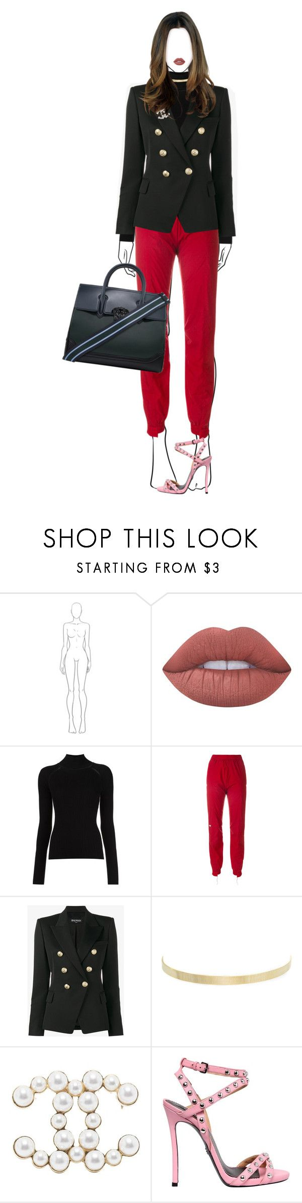 """""""HELLO LONDON"""" by celsoromera ❤ liked on Polyvore featuring Lime Crime, Vetements, Balmain, Kenneth Jay Lane, Chanel, Dsquared2 and Versace"""