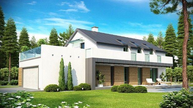 #Projekt TRU-746  to atrakcyjny dom jednorodzinny o nowatorskim charakterze i funkcjonalnych rozwiązaniach. Tradycyjna forma z dwuspadowym dachem została wzbogacona o modernistyczne detale. Idealnie nadaje się do zabudowy na wąską działkę lub z nietypowym usytuowaniem.
