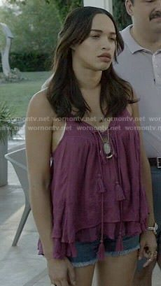 Erica's purple tiered top on Last Man on Earth.  Outfit Details: http://wornontv.net/52958/ #LastManOnEarth