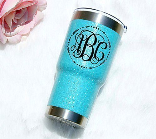 Personalized RTIC 20 oz and 30 oz Glitter Tumbler with Monogram, Perfect Gift for Him or For Her *** You can find out more details at the link of the image.