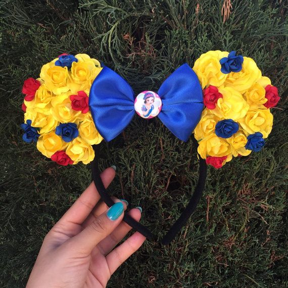 Snow White inspired floral Minnie Ears, Mickey mouse ears, Disney ears, Minnie mouse, Mickey mouse, Minnie, floral ears, Mickey headband,