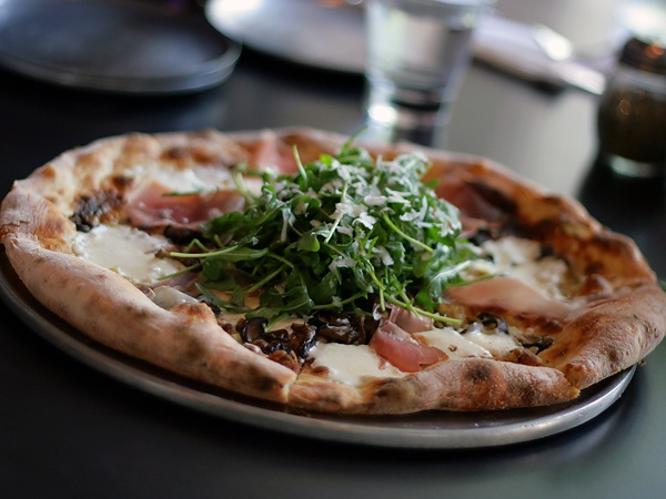 PIZZA: PROSCIUTTO DI PARMA with mushrooms, wild arugula salad, and ...