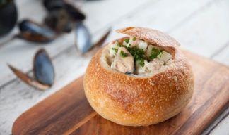 Seafood Chowder in Sourdough Cob