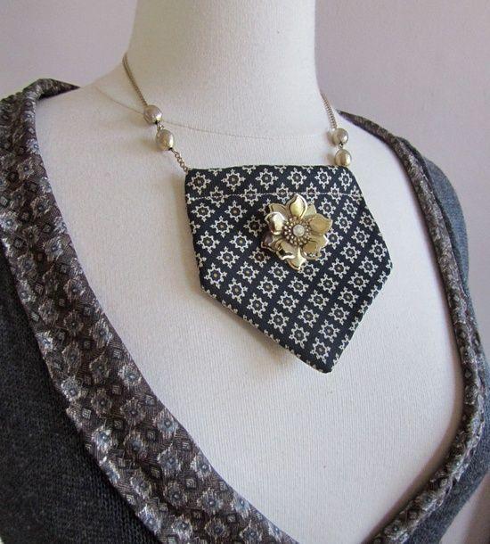 Repurposing Neckties | ... , repurposed and reused ideas. / recycled necktie statement necklace