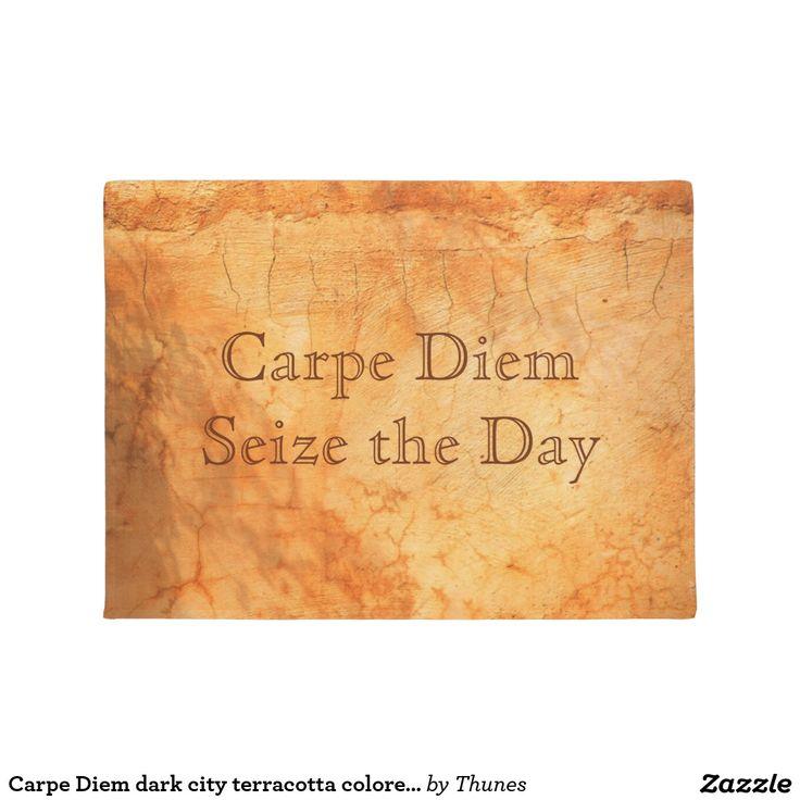 Carpe Diem dark city terracotta colored brick wall - door mat