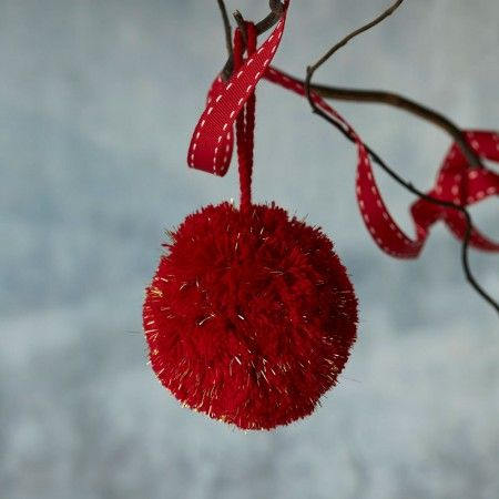 Pom Pom Single Decoration In Red And Gold - Tree Decorations - Christmas Home - Christmas