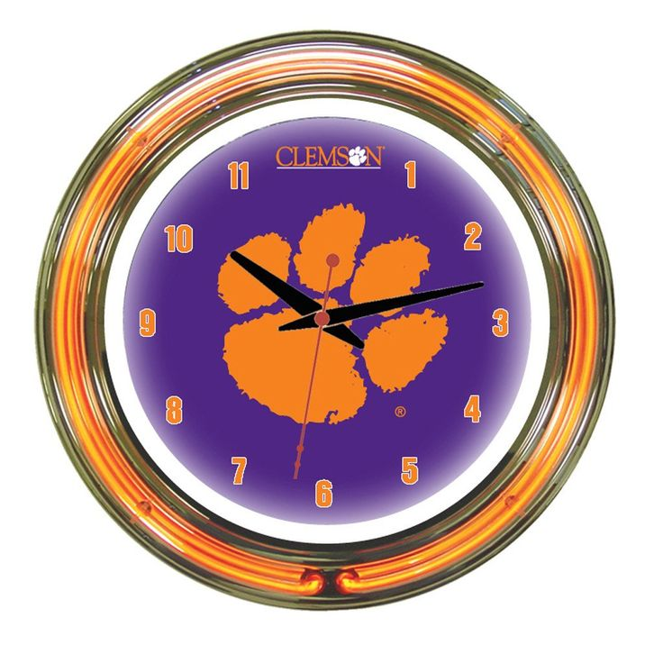 Clemson Tigers 14 Inch Wall Clock in Neon