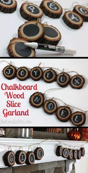 Verwenden Sie Baumscheiben- und Tafelscheiben, um eine vollständig anpassbare Holzscheiben-Fahne oder Girlande zu erstellen, die sich perfekt für den rustikalen / natürlichen Look eignet.