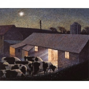 Mars Over The Milking Parlour by James Lynch. A popular art blank greeting card for most occasion. Cows returning home.
