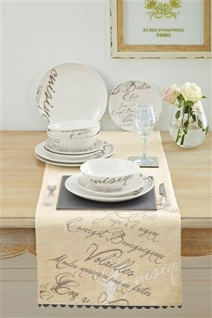 For an elegant dinner table with a touch of Parisian charm, head down to Next where they have the full French Script Dinner Set for £30 as well as beautiful embroidered table runners and heart etched wine glasses, perfect for that romantic dinner for two!