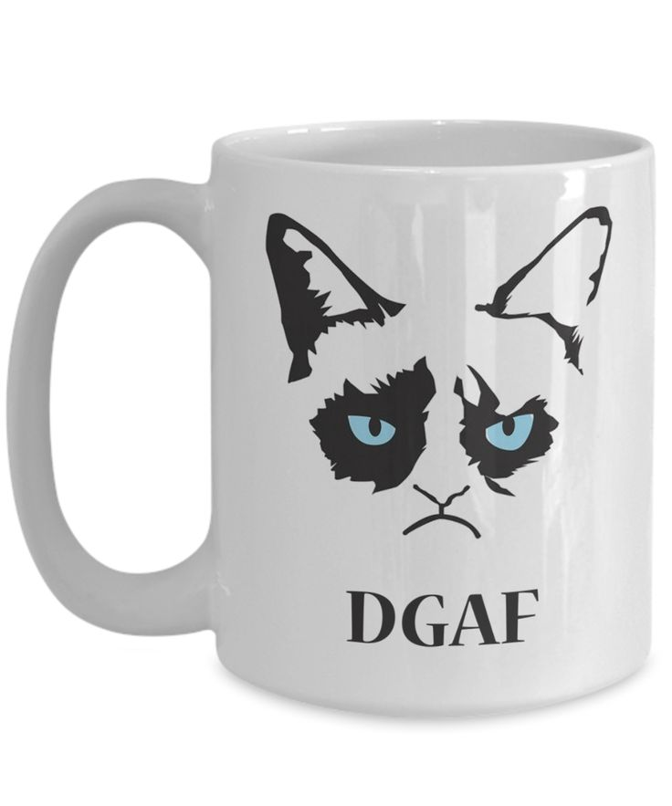 Funny Grumpy Cat 15 oz Coffee Mug - Best Cat Mug - Cat Mugs For Women - Dgaf