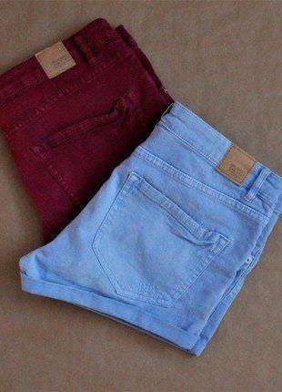 Kaufe meinen Artikel bei #Kleiderkreisel http://www.kleiderkreisel.de/damenmode/kurze-hosen-sonstiges/142961711-bordeaux-rote-hellblaue-shorts-im-used-look