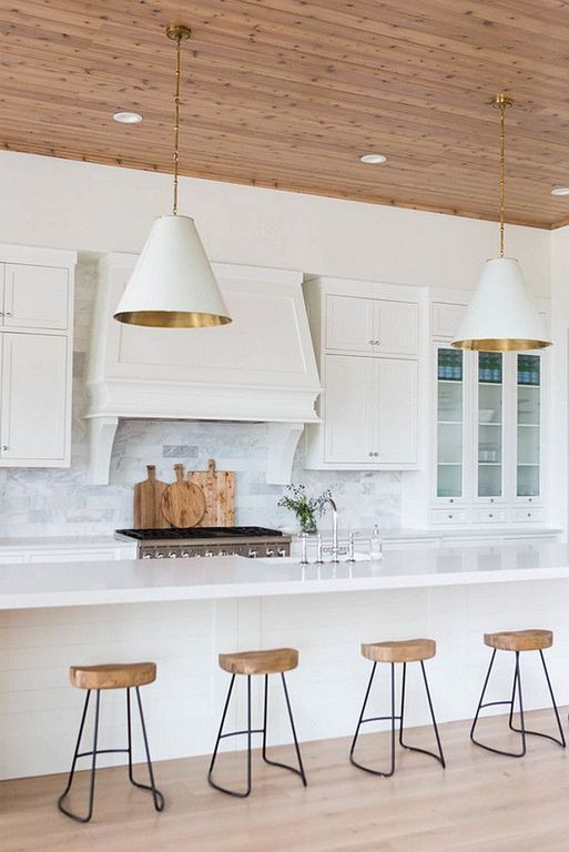 Transitional Kitchen with Carrara White Marble Subway Tile 4x12, Woodhaven Plank Wood Ceiling, Elegant White Marble