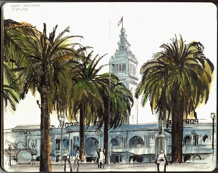 My Summer Location Drawing Class at AAU, San Francisco (Pt 3: the Ferry Building)