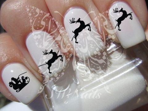 Christmas Xmas Santa Claus Santa Sleigh Christmas  Nail Art Water Decals Nail Transfers Wraps