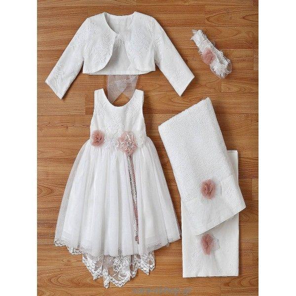 6eabd843028 Οικονομικό βαπτιστικό φόρεμα τούλινο με μπούστο από δαντέλα σετ με μπολερό  και μπαντάνα, Φορεματάκι βάπτισης