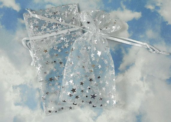 SaLE Bulk 50 Silver Stars Organza Gift Bags on White 3 x