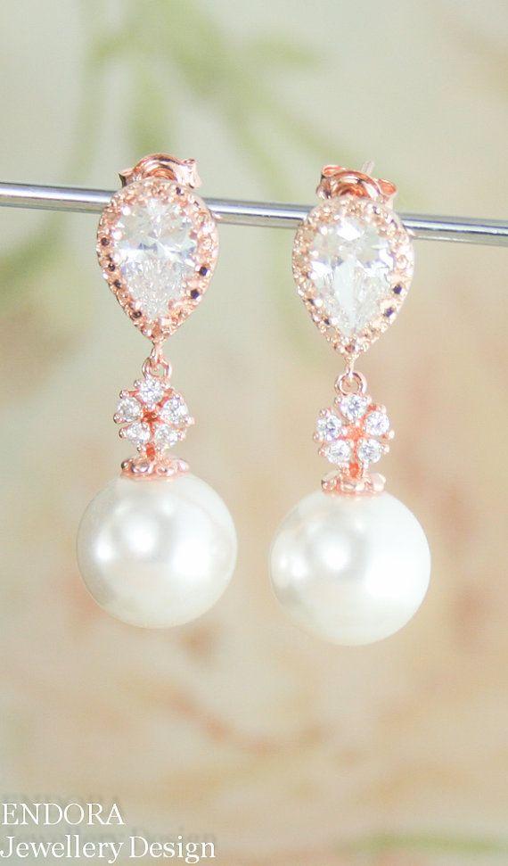 rose gold bridal earrings   white pearl earrings   12mm pearl earrings   #EndoraJewellery